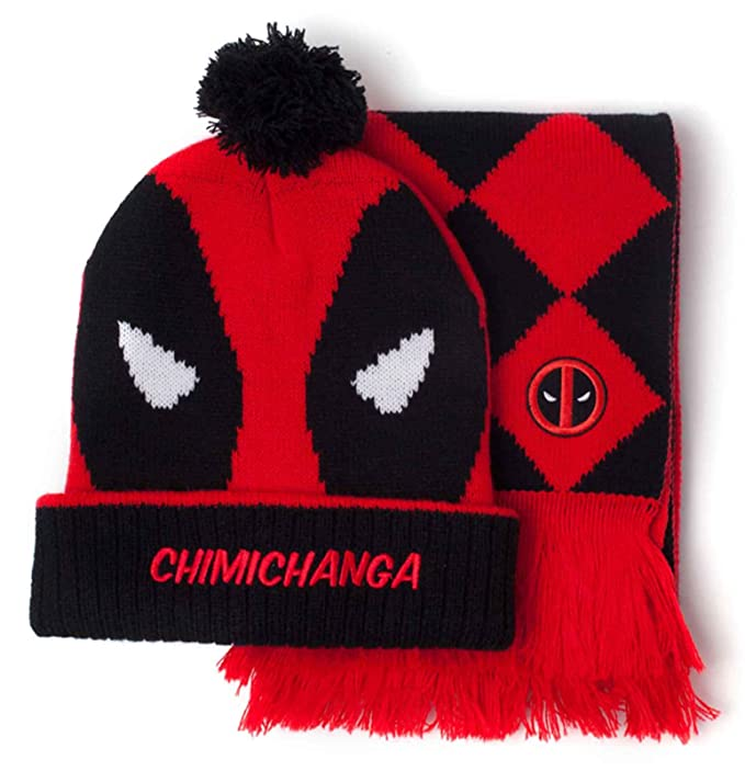 Amazon.com: Marvel Deadpool Beanie and Scarf Chimichanga Logo Official Gift Set Red: Clothing