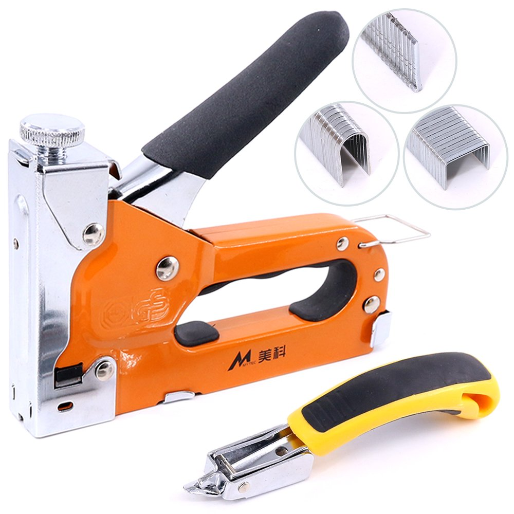 Glarks Heavy Duty 3-in-1 Staple Gun with Staple Remover Kit, Hand Operated Carbon Steel Brad Nail Gun, Tacker Tool for Fixing Material Decoration Carpentry Furniture, Doors and Windows, Billboards