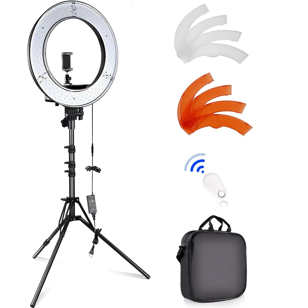 SAMTIAN Led Ring Light 18 Inches YouTube Light 240 Dimmable LED Makeup Light with Adjustable 2M Light Stand Work with Camera and Smartphone for YouTube Video, Portraiture, Interview