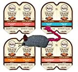 Nutro Perfect Portions Grain Free Cuts In Gravy Cat Food 4 Flavor 8 Can Variety with Toy Bundle, (2) each: Real Salmon, Real Tuna, Real Chicken, Real Salmon Shrimp - 2.6 Ounces (8 Cans Total)