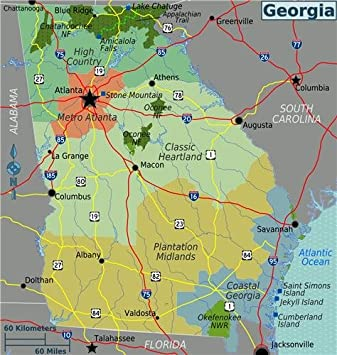 Amazon georgia state map glossy poster picture photo atlanta georgia state map glossy poster picture photo atlanta savannah falcons road sciox Gallery