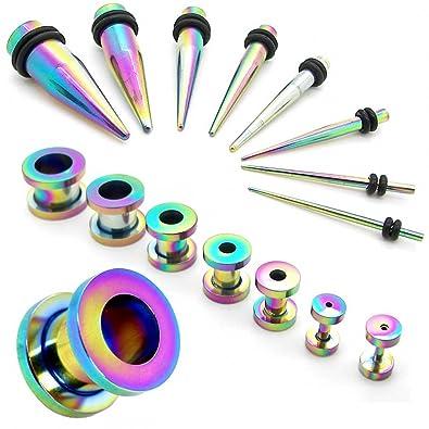 1 Set Expansor Túnel Tunnel Plug Piercing y 1 Set Dilatador Taper Piercing Oreja 1,6-10 mm Arco Iris Rainbow 16 piezas: Amazon.es: Joyería