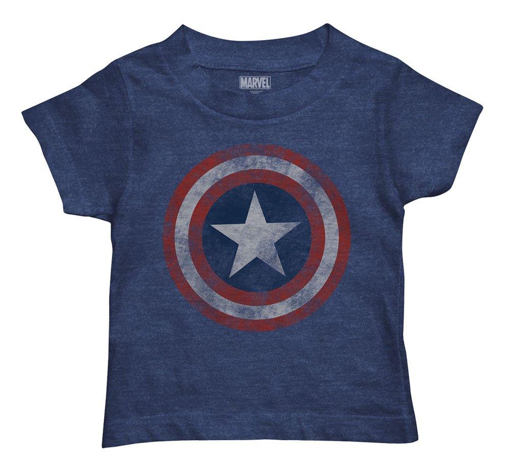 Marvel Toddler Boys' Captain America T-Shirt, Navy Heather, 5T