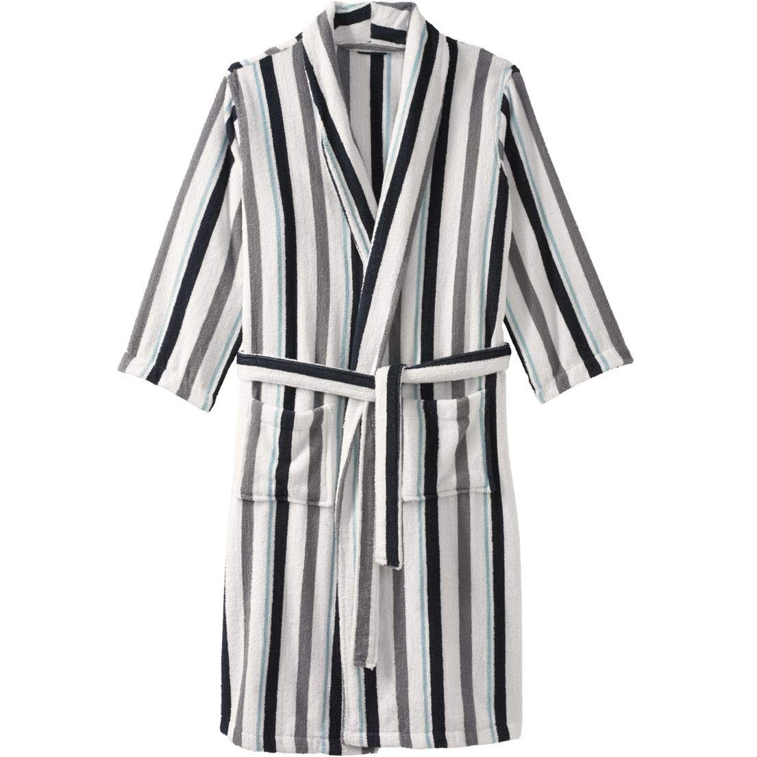 KingSize Men's Big & Tall Terry Bathrobe with Pockets, White Stripe Tall-L/X