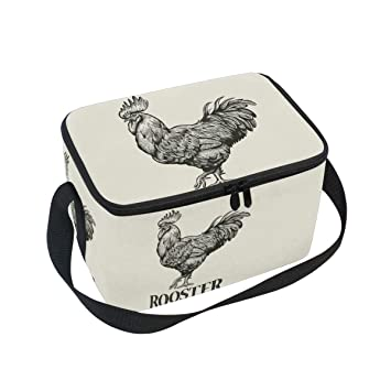 9c1ae0c73d9f Amazon.com: Animal Rooster Insulated Lunch Box Bag Tote with Strap ...