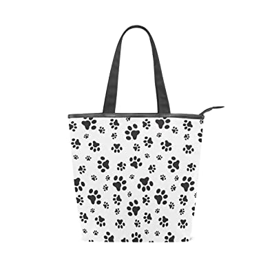 011a2986d Image Unavailable. Image not available for. Color: Jacksome Dog Paws  Pattern Print Women Ladies Casual Vintage Hobo Canvas Daily Purse Shoulder Tote  Shopper