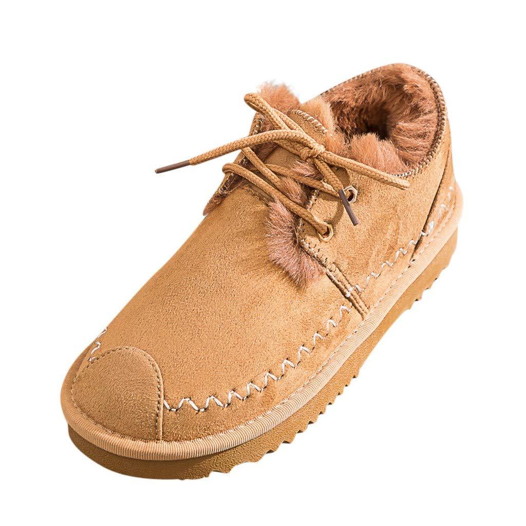 Alwayswin Damen Winter Plus Samt Warme Schuhe Casual Snow Booties Plateau-Bottom Round Toe Schnürschuhe Mode Elegant Freizeitschuhe Einfarbig Einzelne Schuhe Herde Stiefeletten