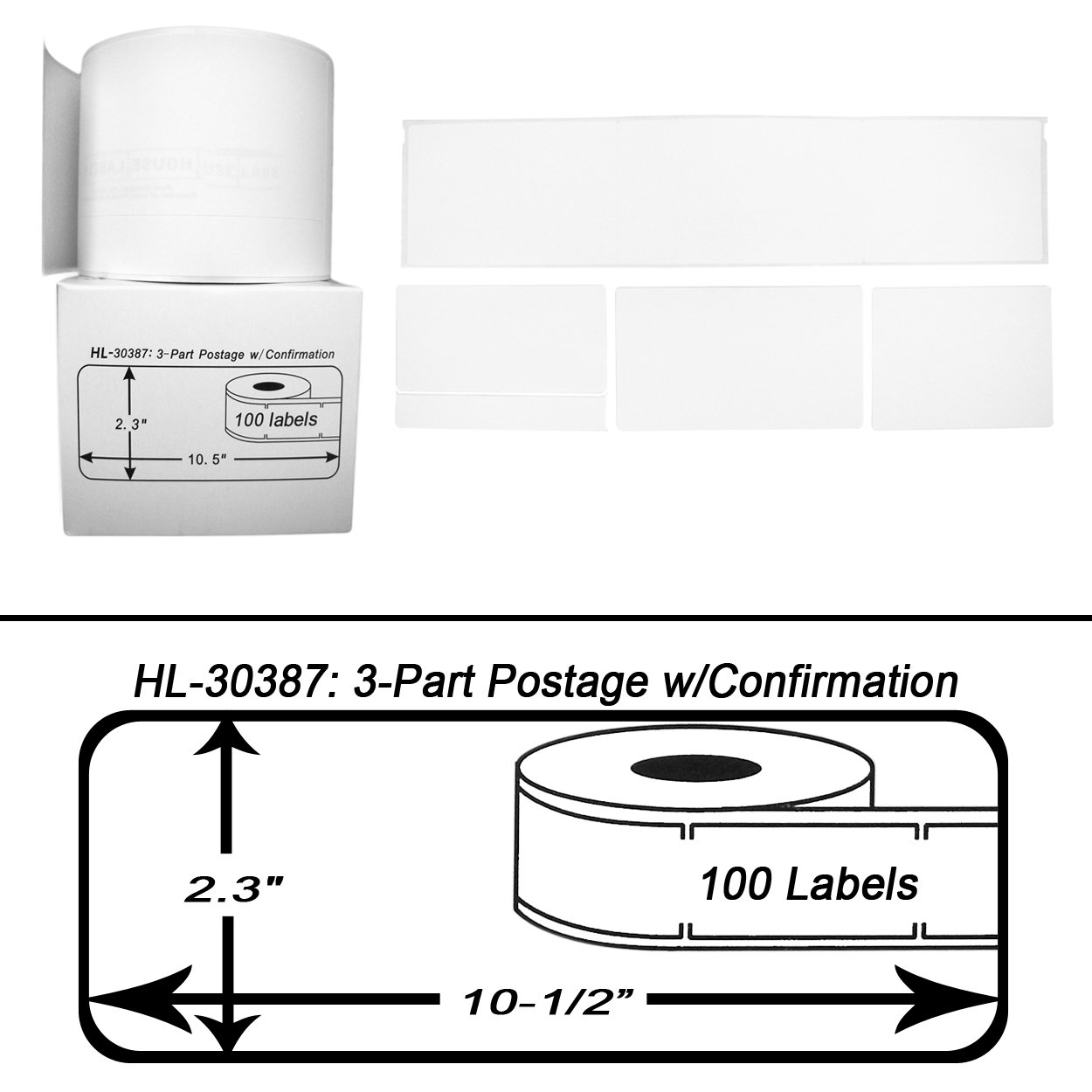 12 Rolls; 100 Labels per Roll of DYMO-Compatible 30387 3-Part Internet Postage Labels (2-5/16'' x 10-1/2'') -- BPA Free! by HouseLabels (Image #2)