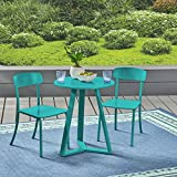 Cheap Great Deal Furniture Larissa Outdoor Iron Bistro Set, Matte Teal