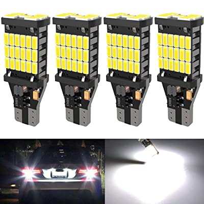 4PCS Super Bright 921 T15 912 W16W LED Reverse Lights, Error Free 921 904 Led Bulbs 45SMD-4014 Chipsets, Newest 912 921 906 LED Bulbs For Car Truck Backup Reverse Lights, 1500 Lumens 6500K White: Automotive