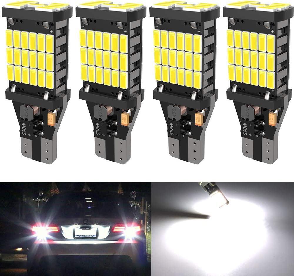 4PCS Super Bright 921 T15 912 W16W LED Reverse Lights, Error Free 921 904 Led Bulbs 45SMD-4014 Chipsets, Newest 912 921 906 LED Bulbs For Car Truck Backup Reverse Lights, 1500 Lumens 6500K White