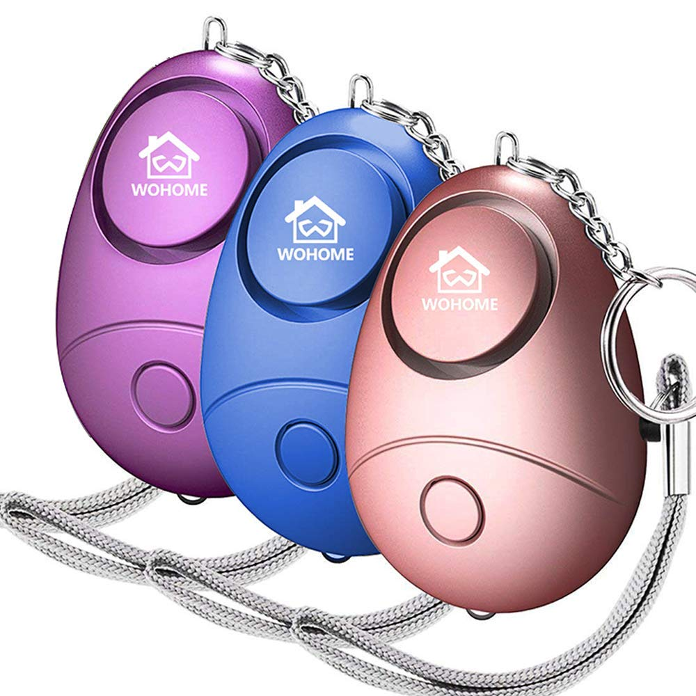 WOHOME Safe Personal Alarm, 3 Pack Safesound Personal Alarm with LED Light Emergency Safety Alarm Keychain for Women, Girls, Kids, Elderly, 3-Color by WOHOME