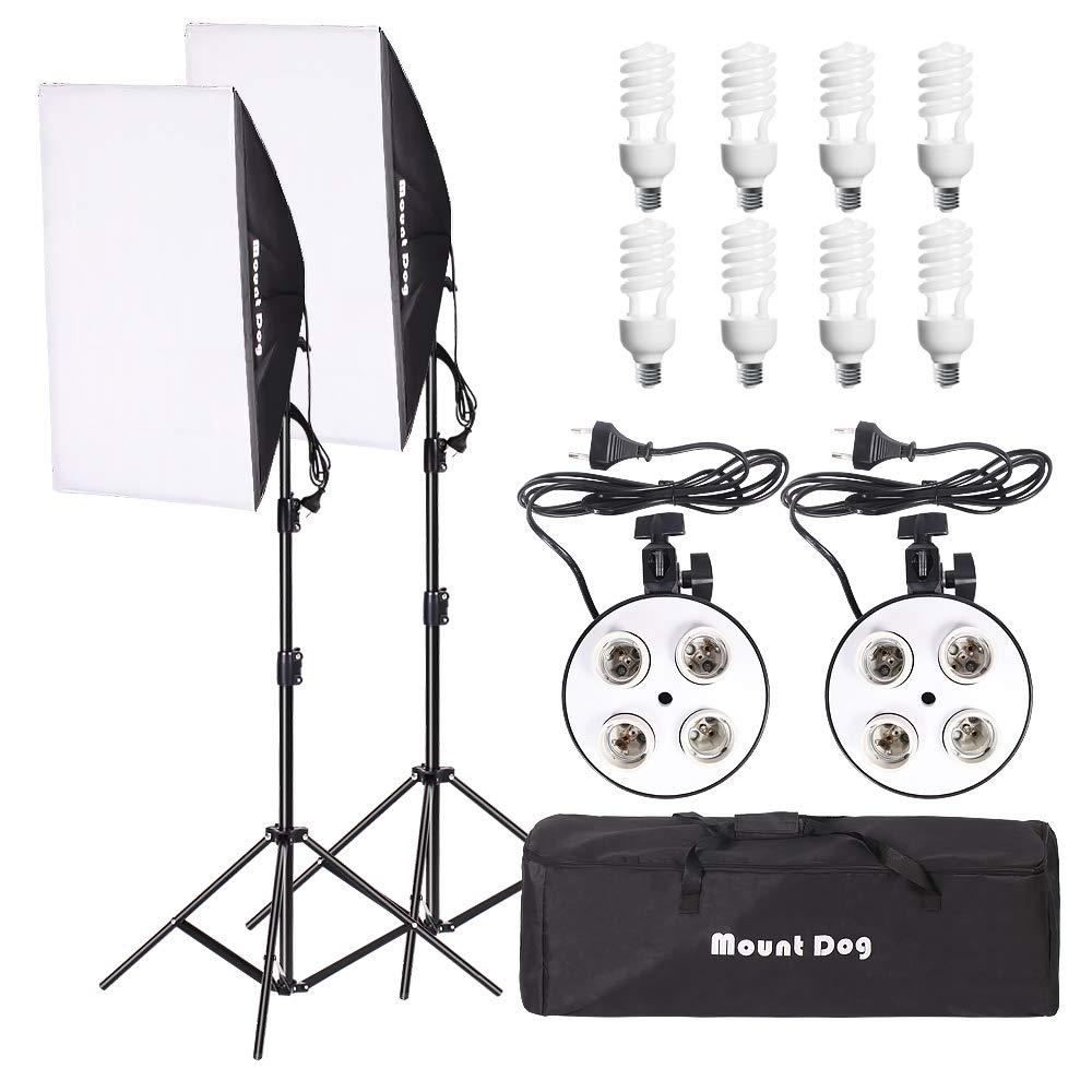 MOUNTDOG 1600W Softbox Photography Lighting Kit Professional Continuous Light 20'x 28' Softbox2 Set 8X45W E27 5500K Bulbs Camera Photo Studio 4 Socket Headlight Portrait Photo Shooting Portraits