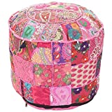 Marudhara Fashion Bohemian Patch Work Pink Colour Traditional Vintage Ottoman Cover, Indian Pouf Floor/Foot Stool, Christmas Decorative Chair Cover,100% Cotton Art Decor Cushion, 22X14 By