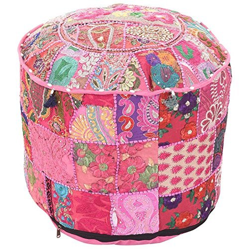 Marudhara Fashion Bohemian Patch Work Pink Colour Traditional Vintage Ottoman Cover, Indian Pouf Floor/Foot Stool, Christmas Decorative Chair Cover,100% Cotton Art Decor Cushion, 22X14 By by Marudhara Fashion