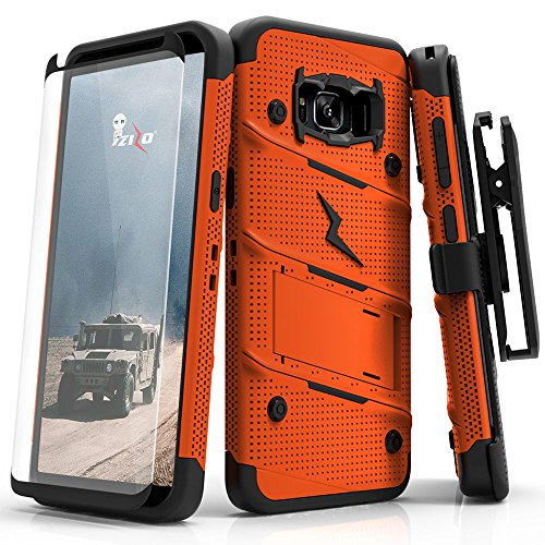 Zizo Bolt Series Compatible with Samsung Galaxy S8 Case Military Grade Drop Tested with Tempered Glass Screen Protector, Holster Orange Black