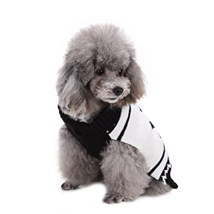 pet dog christmas sweater warm black white jumper autumn winter clothes with sailor anchor pattern for