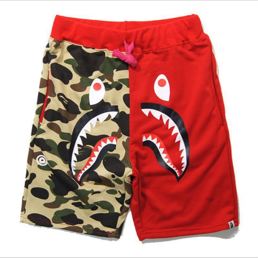 Shark Pattern Sports Shorts Fashion Trend Stitching Drawstring Shorts