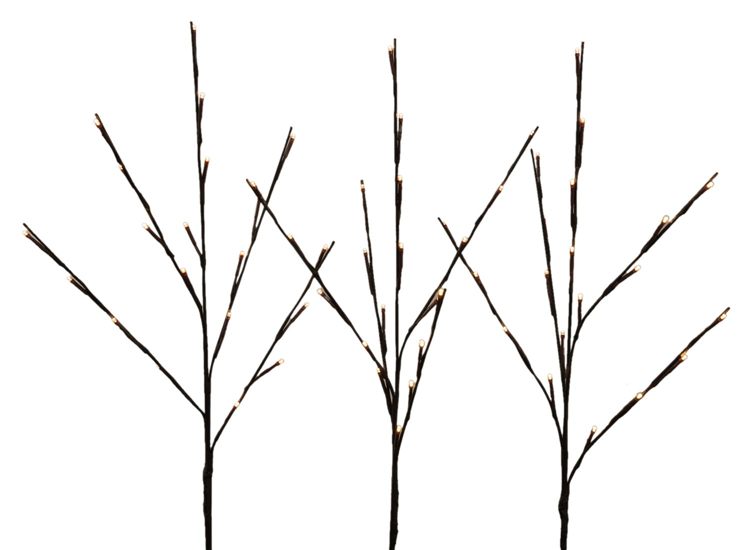 WED 2 Pack Lighted Twig Branches, 26 Inch 60 Led White Wrapped Lighted Branch Stake, 3 Pack Set, White Light for Outdoor and Indoor Use