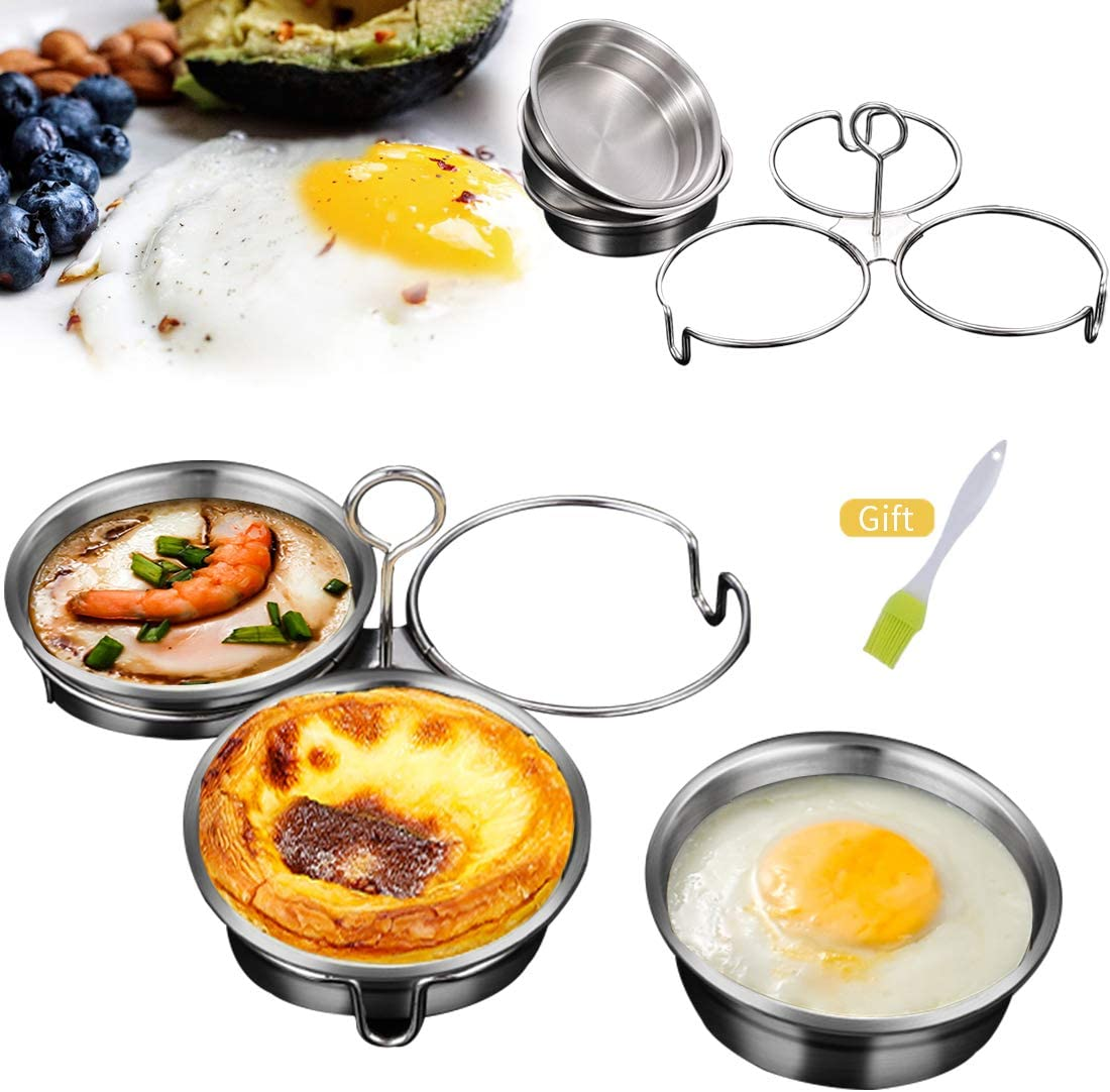 Stainless Steel Steamed Egg Mold Omelet Mold Round Egg Mold Pancake Molds Poached Egg Rings Kitchen Cooking Tool