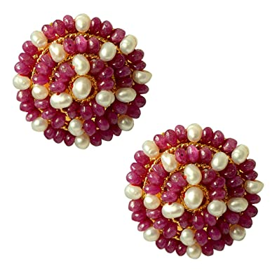 97aefeaf8 Buy SURATDIAMOND Red Ruby Beads and Real Pearl Gold-Plated Stud Earring for  Women Online at Low Prices in India | Amazon Jewellery Store - Amazon.in