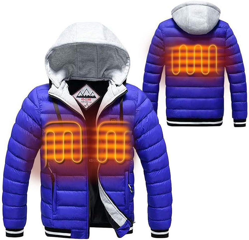 Cocobla Men Heated Coat Winter USB Charging Electric Warm Hoodie ...