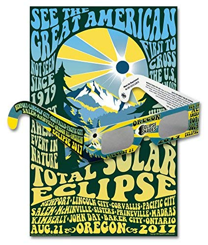 Eclipse Glasses for Total Solar Eclipse 2017 Oregon (5 Pack) - CE & ISO Certified - Includes Oregon Commemorative Poster - Made in USA (Best Eclipse Viewing In Oregon)