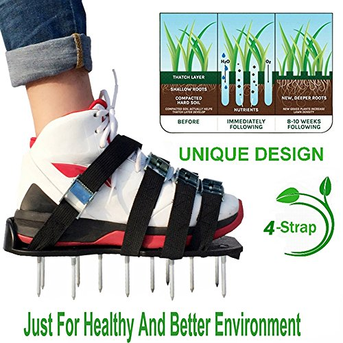 HRTCJ Lawn Aerator shoes - Spiked Shoes,garden sneakers grass turf shoes and grass spikes ripper gardening tools for Aerating Your Lawn or Yard by (Green 4)