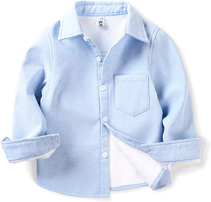 Little Big Kids Long Sleeve Warm Top OCHENTA Boys Plaid Fleece-Lined Shirt