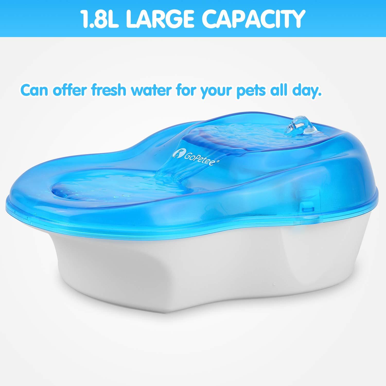 GoPetee Fuente para Gatos 1600ml Fuente de Agua Silenciosa para Gatos y Perros Bebedero Automático para Mascotas 1.6L Dispensador Eléctrico con Filtro de 2 ...