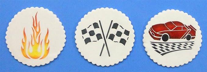 Designer Stencils C800/Mini Carreras Stencil Set, Beige//Semitransparente Llama, Coche de Carreras y Bandera de Checker