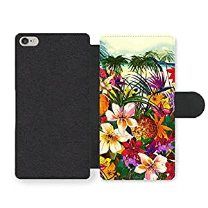 Tropical Island Hipster Grunge Pineapple with Palm Tree Design Faux Leather case for iPhone 6 6S