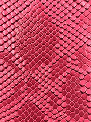 Vinyl Fabric - Fuchsia Faux Viper Snake Skin Vinyl - Faux Leather - 3D Scales Upholstery - sold By The Yard.