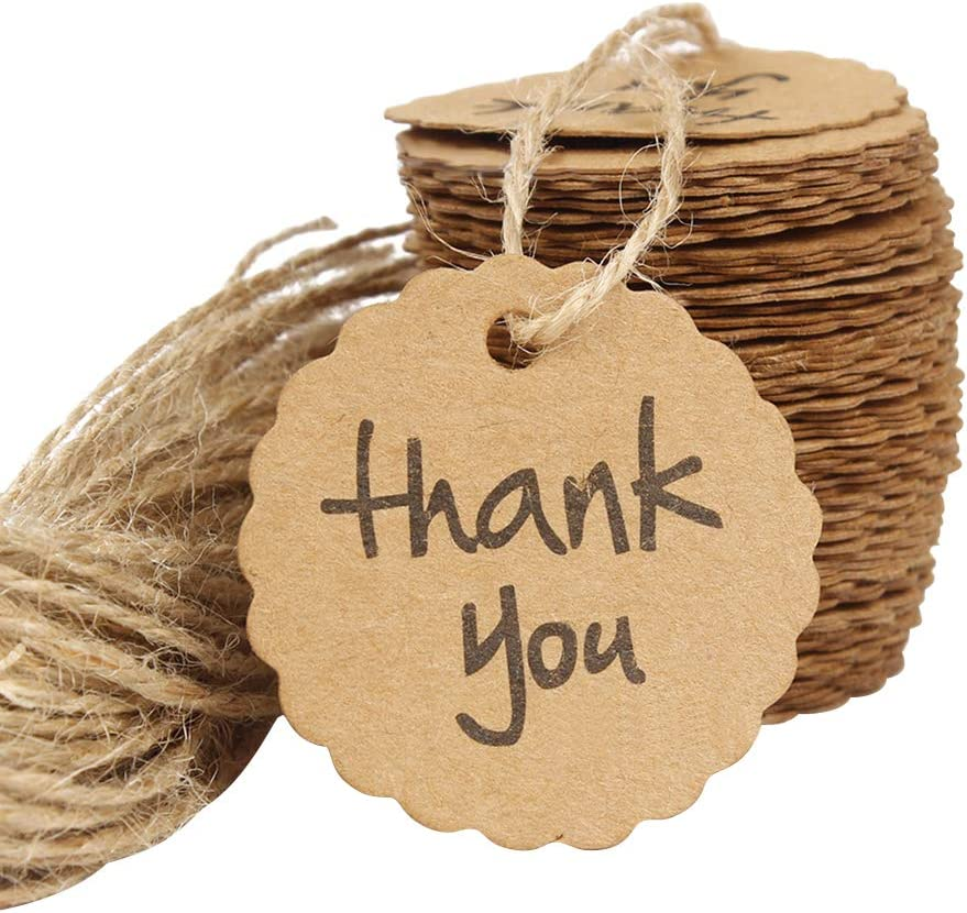 100PCS DD Goods Kraft Paper Labels Thank You Gift Price Tags with Jute Twines String for Wedding Birthday Party Favor Decoration and Arts Crafts Scalloped
