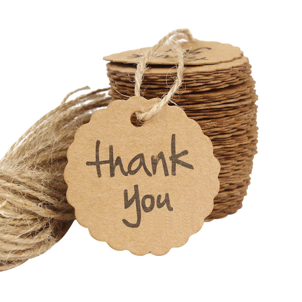 DD Goods Kraft Paper Labels Thank You Gift Price Tags with Jute Twines String for Wedding Birthday Party Favor Decoration and Arts Crafts, 100PCS (Scalloped)