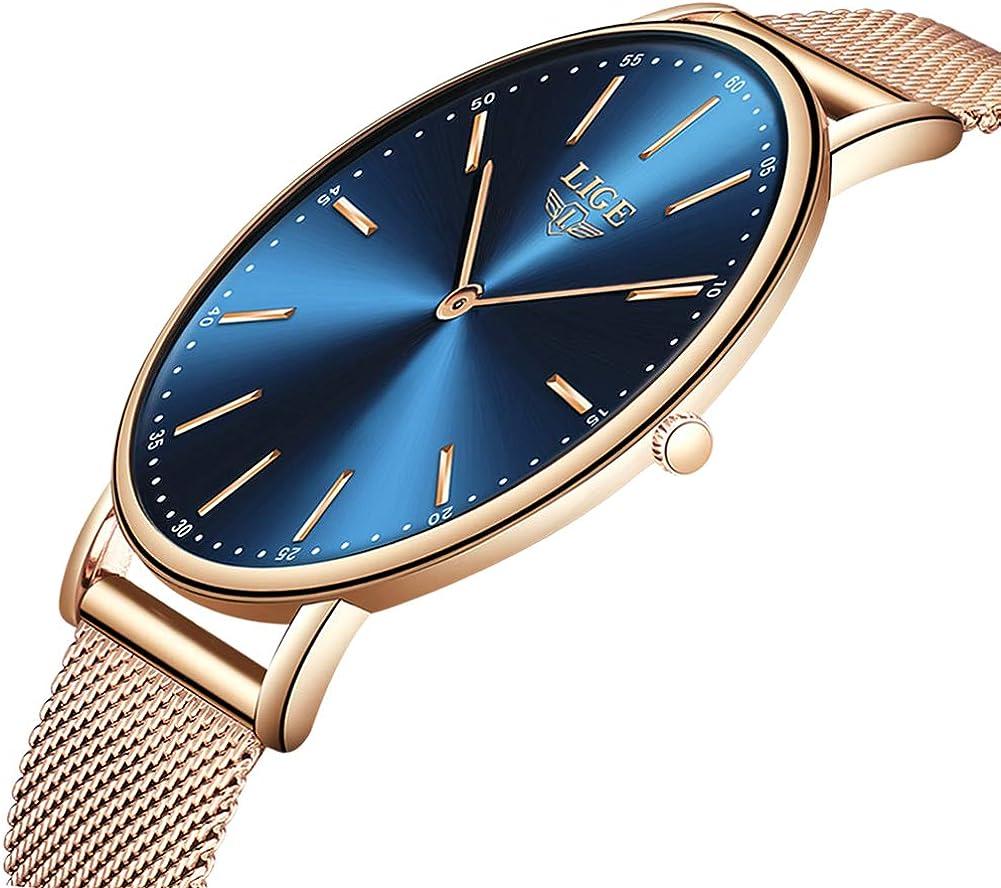 LIGE Ultra Delgado Relojes para Hombre Unisex Impermeable Deporte Acero Inoxidable Malla Reloj de Pulsera Gents Moda Simple Análogo Relojes para Mujer