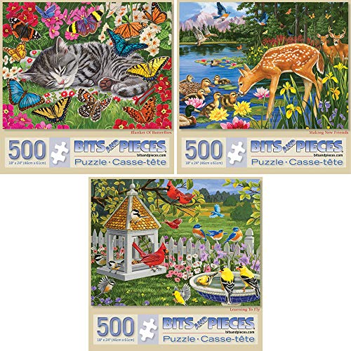 Bits and Pieces - Set of Three (3) 500 Piece Jigsaw Puzzles for Adults - Each Puzzle Measures 18