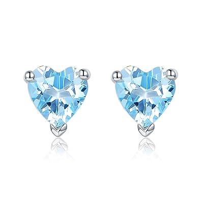 85622b7e34e2 JiangXin el aretes de 925 plata y de azul topacio natural