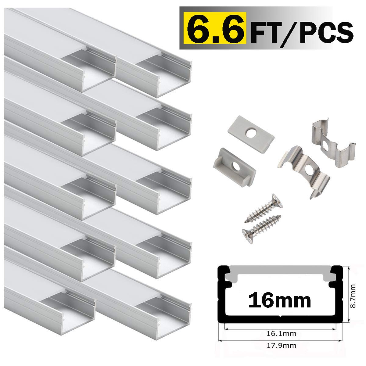 LED Aluminum Channel Wide 2m/6.6ft,StarlandLed Aluminum Profile 10-Pack with Complete Mounting Accessories for up to 16mm LED Strip Light, Perfectly Suit for Philips Hue LightStrip Plus