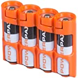 Storacell by Powerpax SlimLine AA Battery Caddy, Orange, Holds 4 Batteries