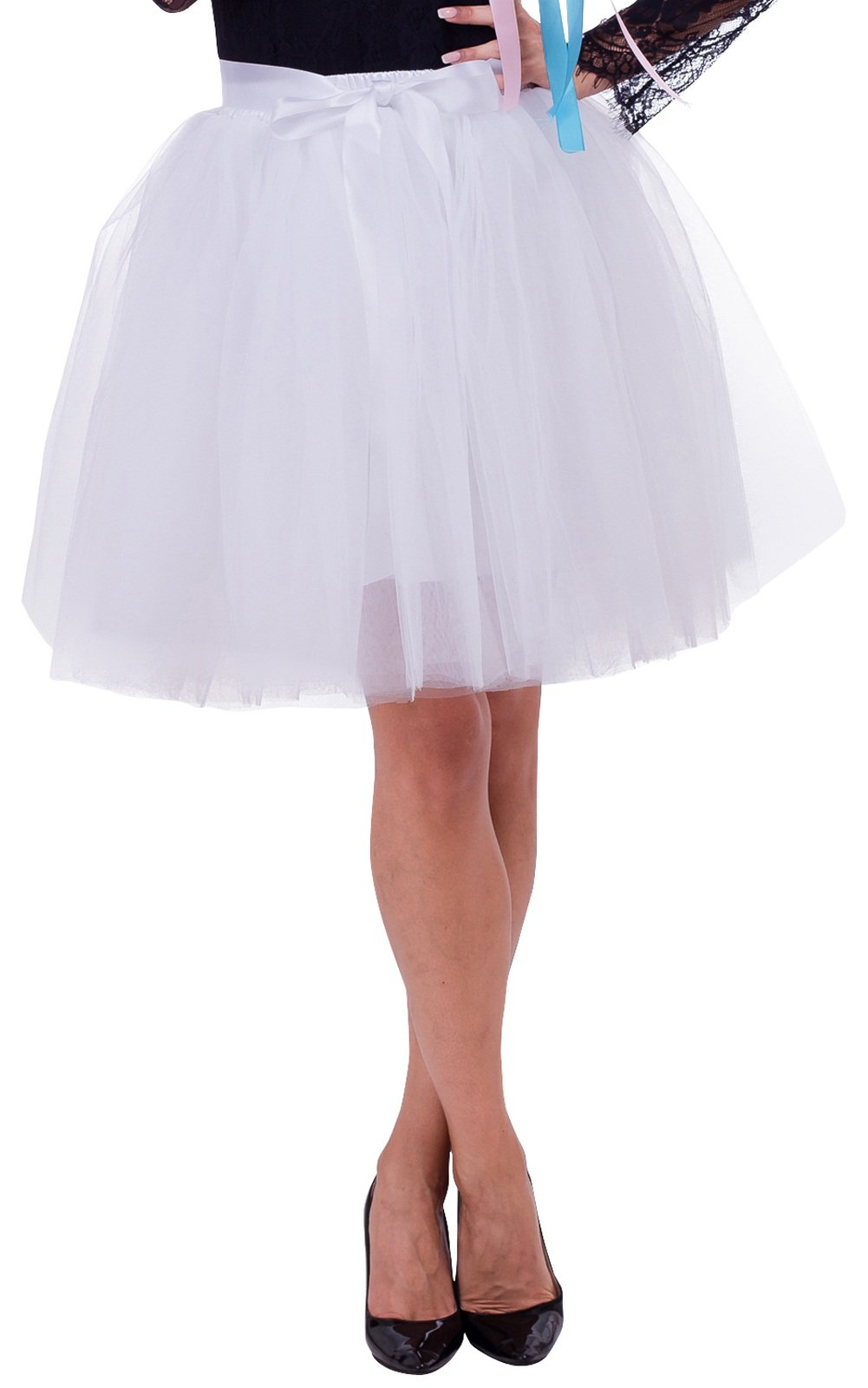 Duraplast Women's Above Knee Skirt Tutu Petticoat High Waist Tulle White,Large
