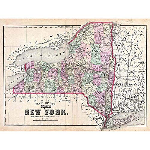 - Wee Blue Coo 1873 Beers Map New York State Vintage Unframed Wall Art Print Poster Home Decor Premium