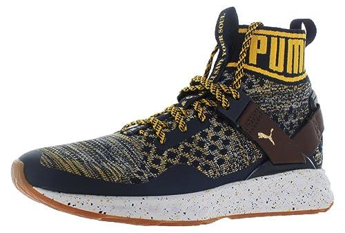 PUMA- Men s Ignite Evoknit Peacoat Chestnut Spectra Yellow, Athletic Shoe,  Size eb233ef4928
