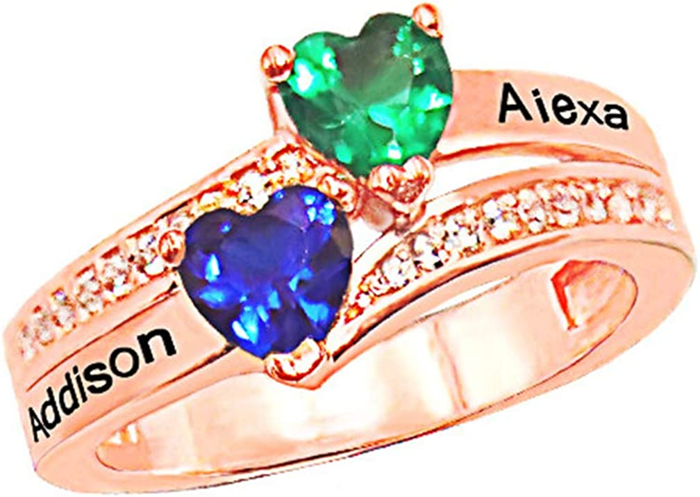 ZHJ8 Personalized Mothers Rings with 4 Simulated Birthstones for Mother Mother Anniversary Rings for Mom