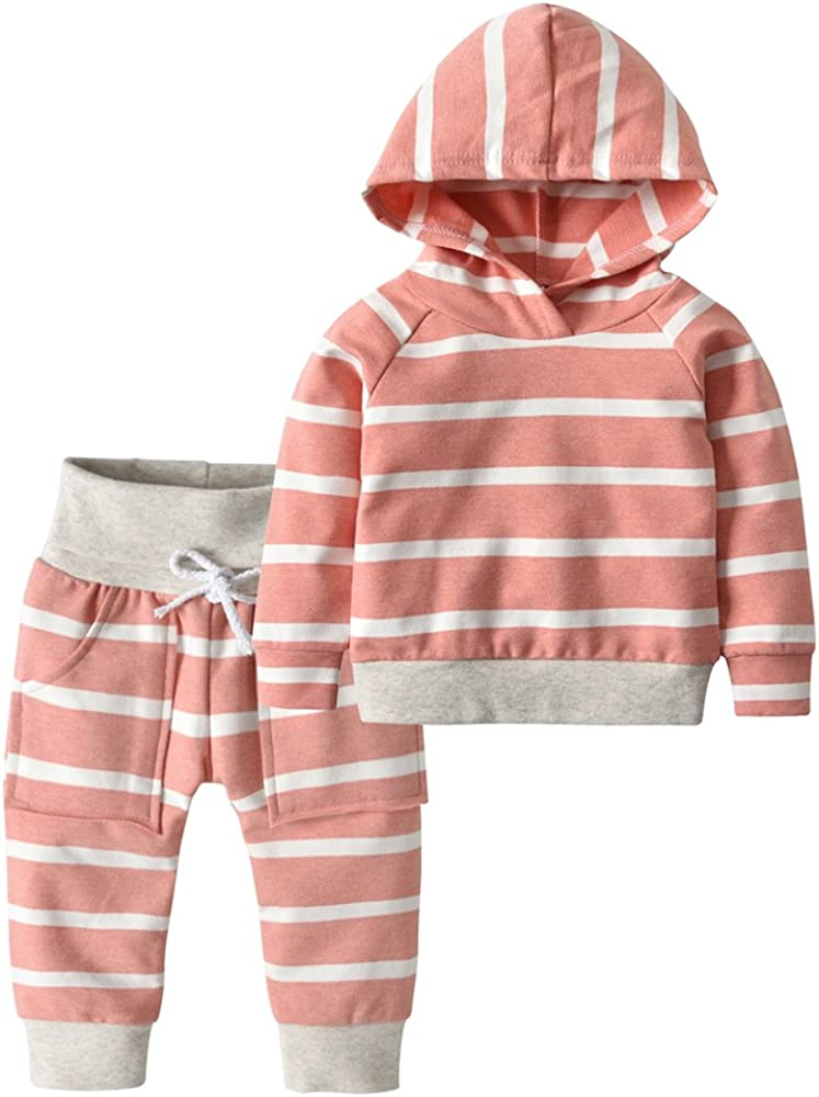 Toddler Infant Baby Boys Girls Long Sleeve Hoodie Sweatshirt Tops+Splicing Plaid Pants 2 Pieces Outfits Clothing Sets
