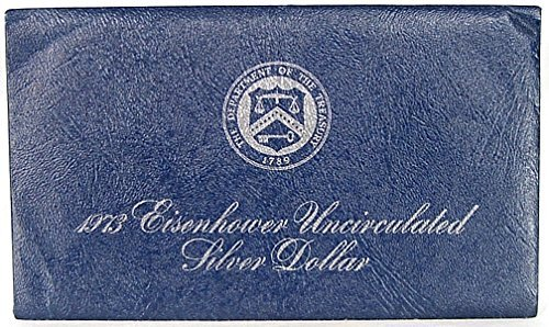 1973 S -S Uncirculated Eisenhower Blue Pack Silver Dollar with Original Packaging $1 Brilliant Uncirculated US Mint