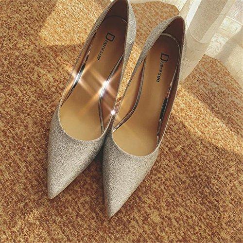 Xue 34 scarpe sposa femminili singole 10CM da scarpe con femminili tacco sposa scarpe scarpe Qiqi sposa alto Scarpette col fini da sposa da scarpe argento Scarpe da r7xvrAnSwq