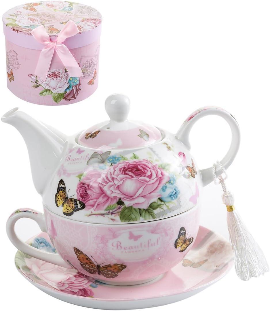 Juego de té para una Tetera (Porcelana), diseño de Flora y Rosa