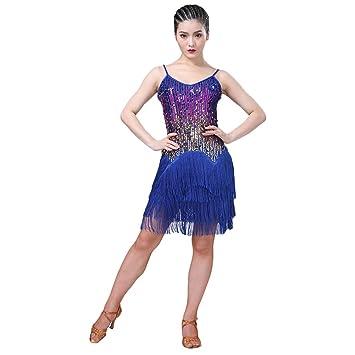 Qianren Lentejuelas Coloridas Vestido de Baile Latino para Mujer ...