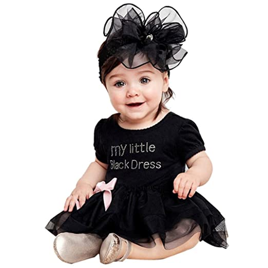 c36a7c1a1b24 Fabal Newborn Baby Girls Embroidered Lace Little Black Dress Bodysuit (73,  Black)